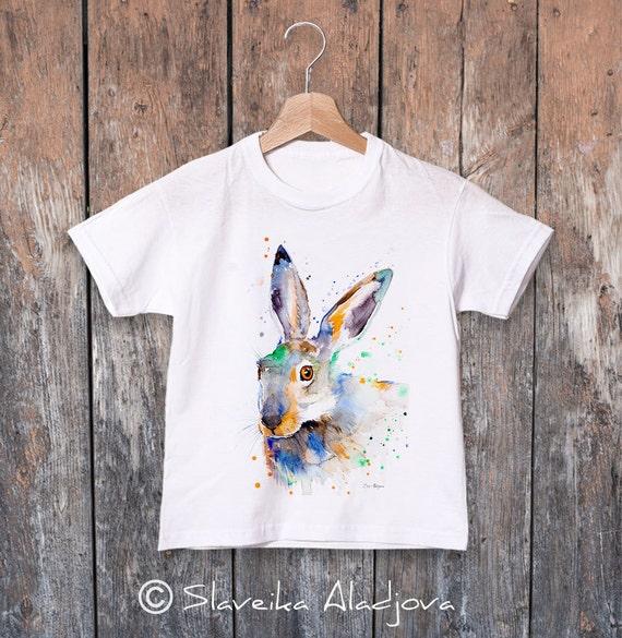 Jackrabbit watercolor kids T-shirt, Boys' Clothing, Girls' Clothing, ring spun Cotton 100%, watercolor print T-shirt,T shirt art