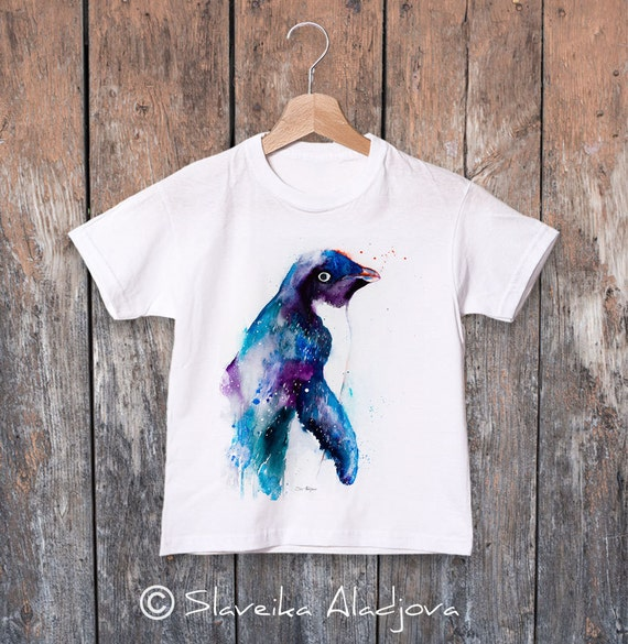 Adelie penguin watercolor kids T-shirt, Boys' Clothing, Girls' Clothing, ring spun Cotton 100%, watercolor print T-shirt, T shirt art