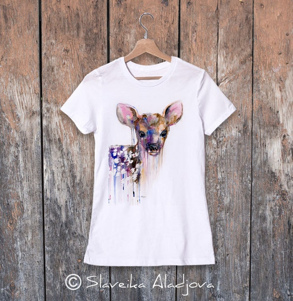 Deer watercolor ladies' T-shirt, women's tees, Teen Clothing, Girls' Clothing, ring spun Cotton 100%, watercolor print T-shirt, art