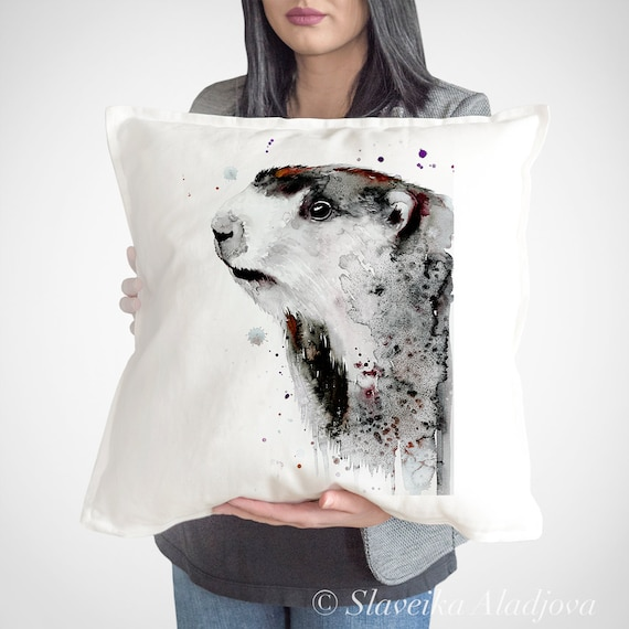 Marmot throw pillow cover by Slaveika Aladjova, cushion cover, Decorative Pillow Cover, Animal Art, Watercolor pillow, Christmas gift idea