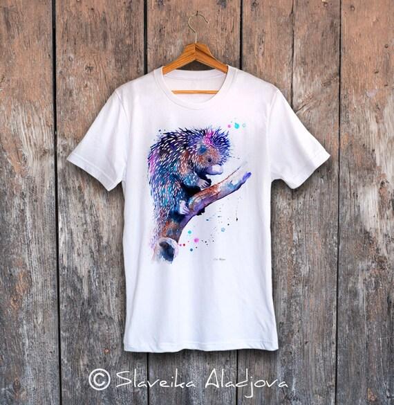 Prehensile-tailed porcupine T-shirt, Unisex T-shirt, Cotton 100%, watercolor print T-shirt, T shirt art, T shirt animal,XS, S, M, L, XL, XXL