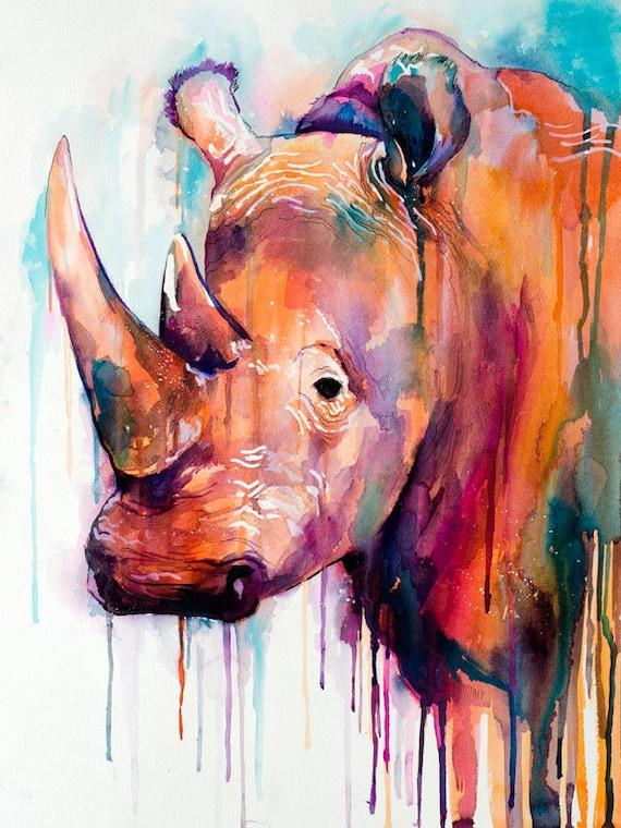 Original Watercolour Painting- Colorful Rhino art, animal, illustration, animal watercolor, animals paintings, animals, portrait,