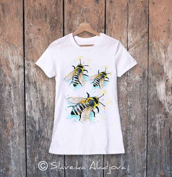 Bees watercolor ladies' T-shirt, women's tees, Teen Clothing, Girls' Clothing, ring spun Cotton 100%, watercolor print