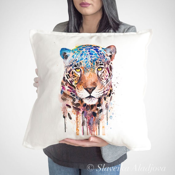 Jaguar Cushion Cover,  throw pillow, Decorative Cushion Cover, Animal lover gift idea, Watercolor pillow, Cute panther pillow