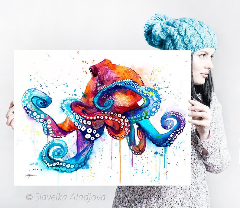 Octopus watercolor painting print by Slaveika Aladjova art image 0