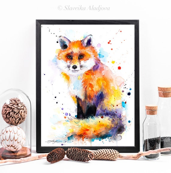 Fox watercolor framed canvas by Slaveika Aladjova, Limited edition, art, animal watercolor, animal illustration,bird art