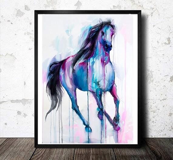 Original Watercolour Painting- Magical Horse, animal, illustration, animal watercolor, animals, portrait, blue, watercolor
