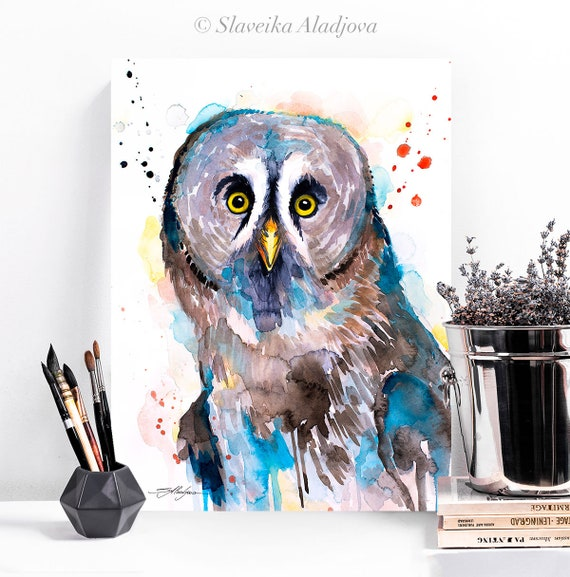 Great grey owl watercolor painting print by Slaveika Aladjova, art, animal, illustration, bird, home decor, wall art, Wildlife, Contemporary