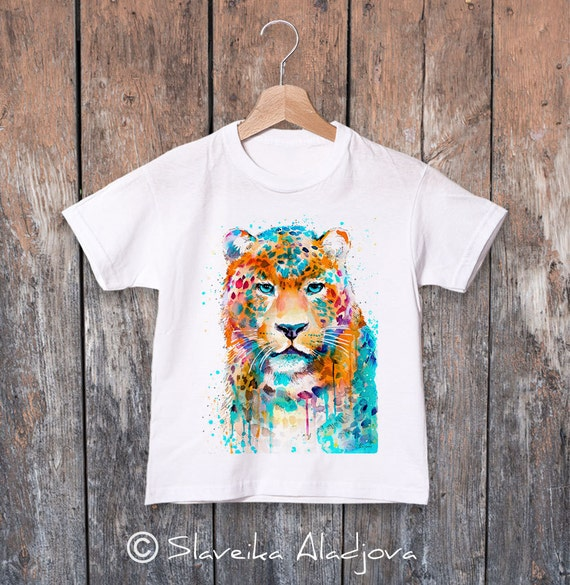 Leopard watercolor kids T-shirt, Boys' Clothing, Girls' Clothing, ring spun Cotton 100%, watercolor print T-shirt,T shirt art