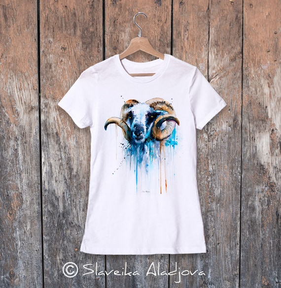 Sheep watercolor ladies' T-shirt, women's tees, Teen Clothing, Girls' Clothing, ring spun Cotton 100%, watercolor print T-shirt,art
