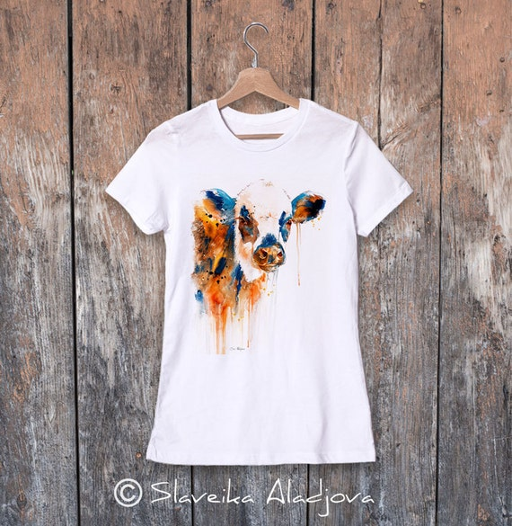 Cow watercolor ladies' T-shirt, women's tees, Teen Clothing, Girls' Clothing, ring spun Cotton 100%, watercolor print