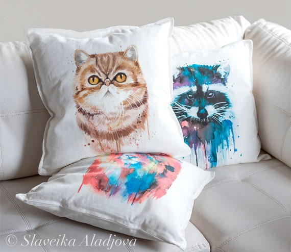 Exotic Shorthair throw pillow cover by Slaveika Aladjova, cushion cover, Decorative Pillow Cover, Animal Art, Watercolor pillow, Christmas