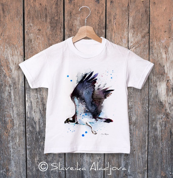Osprey watercolor kids T-shirt, Boys' Clothing, Girls' Clothing, ring spun Cotton 100%, watercolor print T-shirt,T shirt art