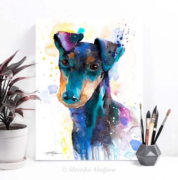 Manchester Terrier watercolor painting print by Slaveika Aladjova, animal, illustration, home decor, Nursery, Contemporary, dog art,wall art