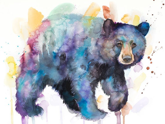 Original Watercolour Painting- American black bear art, animal, illustration, animal watercolor, animals paintings, animals, portrait,