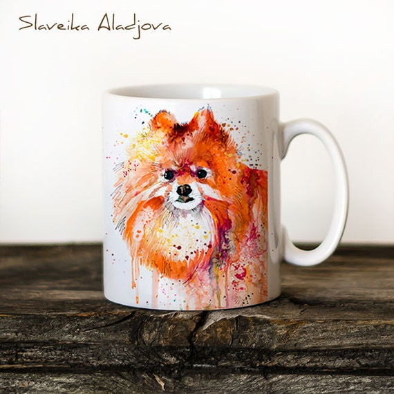 Pomeranian Mug Watercolor Ceramic Mug Unique Gift Coffee Mug Animal Mug Tea Cup Art Illustration Cool Kitchen Art Printed mug dog