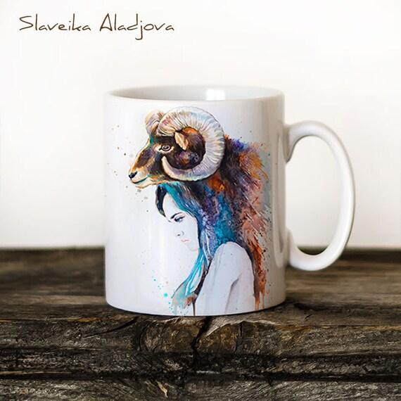 Mouflon Girl Mug Watercolor Ceramic Mug Unique Gift Coffee Mug Animal Mug Tea Cup Art Illustration Cool Kitchen Art Printed mug