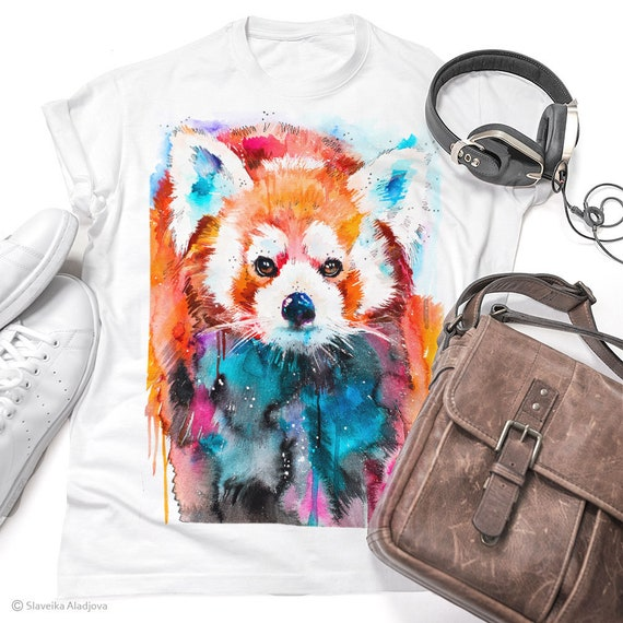 Red Panda T-shirt, Red panda Unisex T-shirt print, Men's tees, Red panda Lover Gift, watercolor print, ring spun Cotton 100%,Colourful print