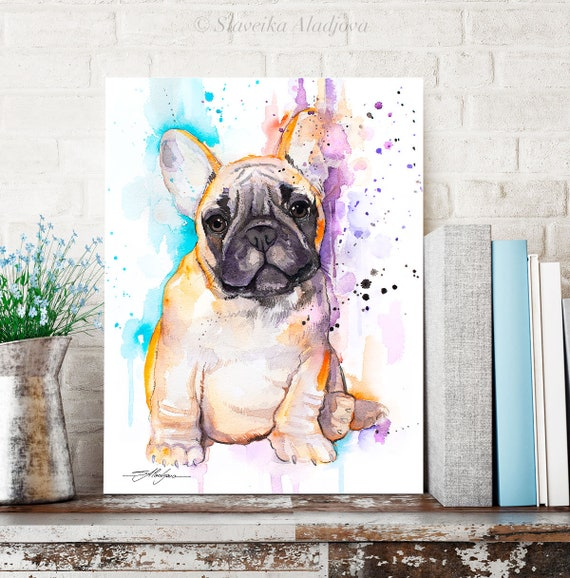Baby fawn french bulldog watercolor painting print by Slaveika Aladjova, art, animal, illustration, home decor, gift, Contemporary, dog art