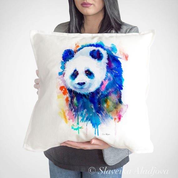 Panda throw pillow cover by Slaveika Aladjova, cushion cover, Decorative Pillow Cover, Animal Art, Watercolor pillow, Christmas gift