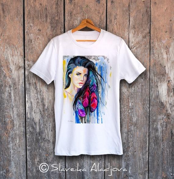 Colorful Feathers T-shirt, Unisex T-shirt,ring spun Cotton 100%, watercolor print T-shirt, T shirt art, T shirt animal, XS, S, M, L, XL, XXL