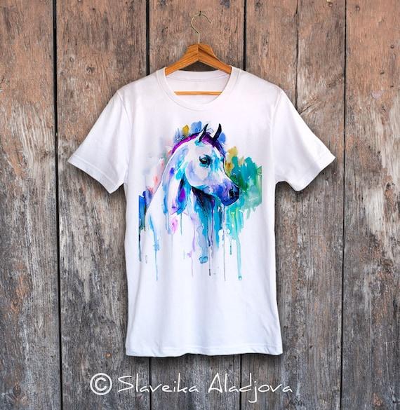 Horse T-shirt, Arabian horse unisex T-shirt, Men's tees, Horse Lover Gift, watercolor print tee, ring spun Cotton 100%, Colourful print