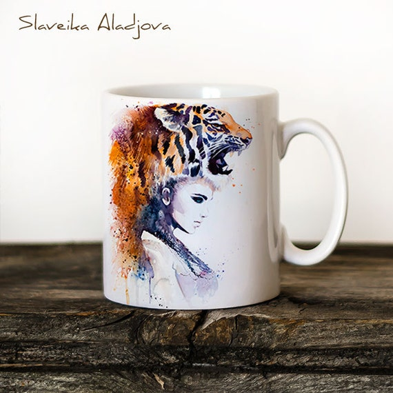 Tiger Girl Mug Watercolor Ceramic Mug Unique Gift Coffee Mug Animal Mug Tea Cup Art Illustration Cool Kitchen Art Printed mug