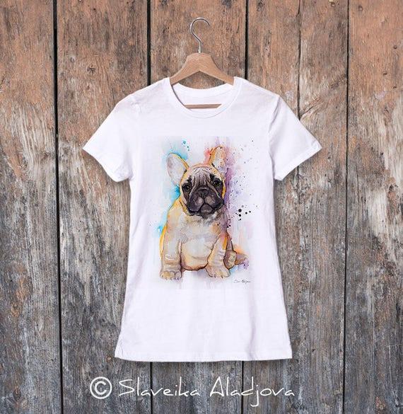 Fawn French Bulldog watercolor ladies' T-shirt, women's tees, Teen Clothing, Girls' Clothing, ring spun Cotton 100%, watercolor print