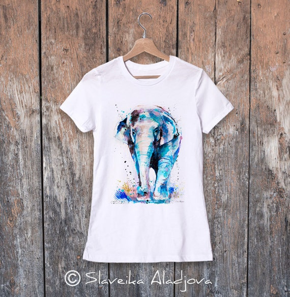 Asian Elephant watercolor ladies' T-shirt, women's tees, Teen Clothing, Girls' Clothing, ring spun Cotton 100%, watercolor print