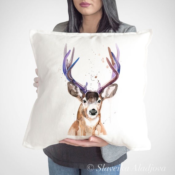 Mule deer, Black-tailed deer  throw pillow cover by Slaveika Aladjova, cushion cover, Decorative Pillow Cover, Animal Art, Watercolor pillow