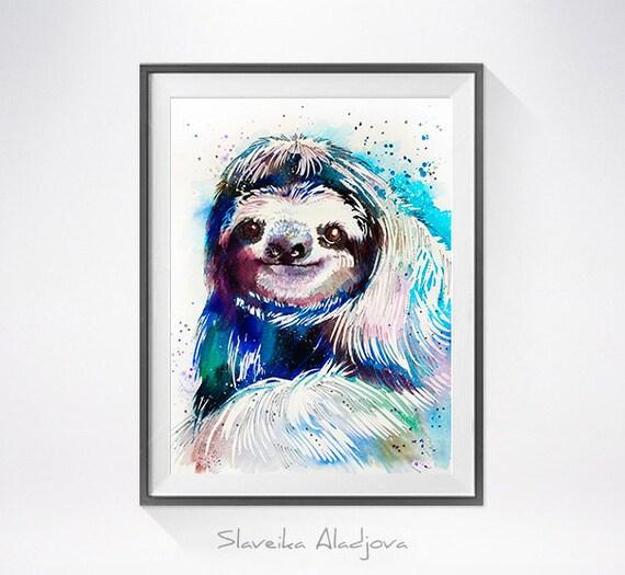 Original Watercolour Painting- Sloth art, Sloth Original , animal, illustration, animal watercolor, animals paintings, animals, portrait,
