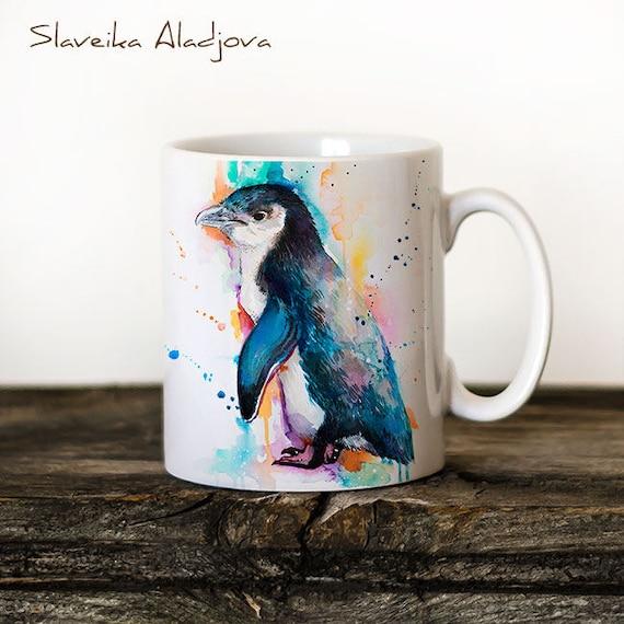 Little Blue Penguin Mug Watercolor Ceramic Mug Unique Gift Coffee Mug Animal Mug Tea Cup Art Illustration Cool Kitchen Art Printed mug