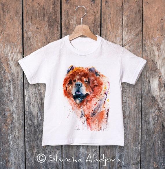 Chow Chow watercolor kids T-shirt, Boys' Clothing, Girls' Clothing, ring spun Cotton 100%, watercolor print T-shirt, T shirt art