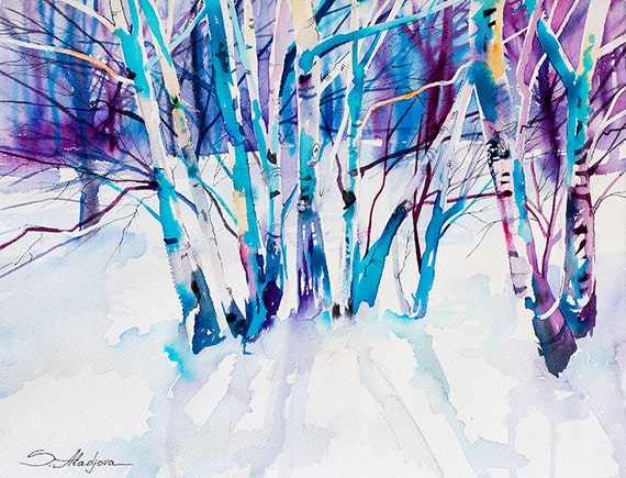 Original Watercolour Painting- Birches, landscape, winter landscape, snow, tree, birches, birch, landscape, watercolor