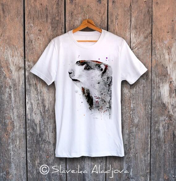 Marmot T-shirt, Unisex T-shirt, ring spun Cotton 100%, watercolor print T-shirt, T shirt art, T shirt animal,XS, S, M, L, XL, XXL
