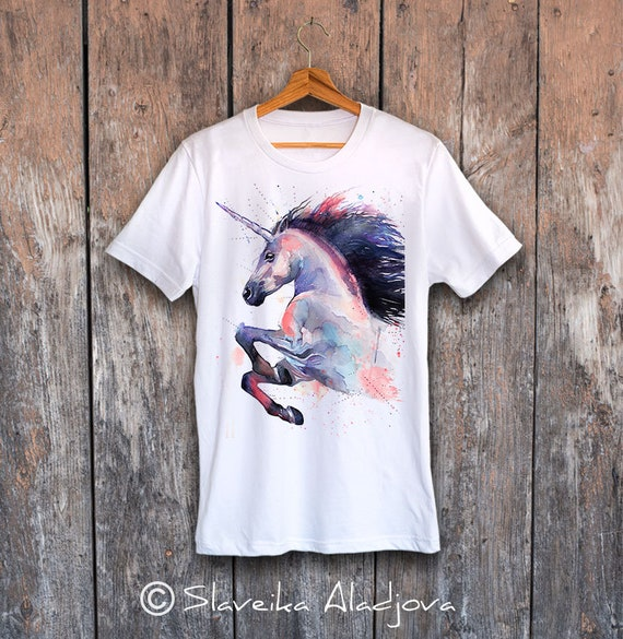 Unicorn T-shirt, Unisex T-shirt with unicorn print, Men's tees, horse Lover Gift, watercolor print tee, ring spun Cotton 100%, Colourful tee