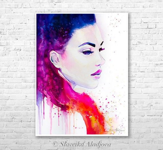 Color illusions watercolor painting print by Slaveika Aladjova, Fashion Illustration, Illustration, watercolour, wall art, home decor