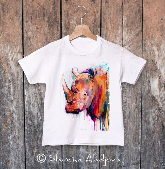 Rhino watercolor kids T-shirt, Boys' Clothing, Girls' Clothing, ring spun Cotton 100%, watercolor print T-shirt, T shirt art
