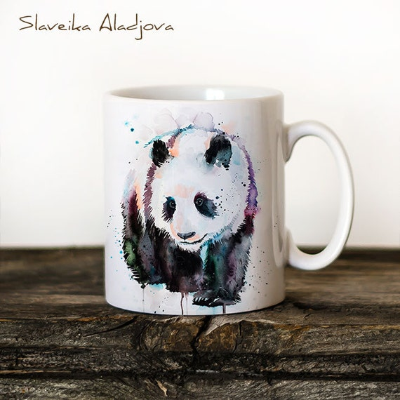 Panda Mug Watercolor Ceramic Mug Unique Gift Coffee Mug Animal Mug Tea Cup Art Illustration Cool Kitchen Art Printed mug bird