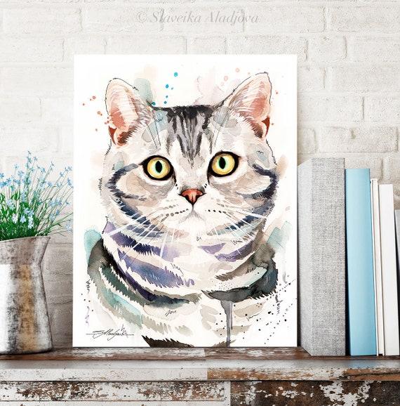 American Shorthair Cat watercolor painting print by Slaveika Aladjova, art, animal, illustration, home decor, Nursery, wall art,pet portrait