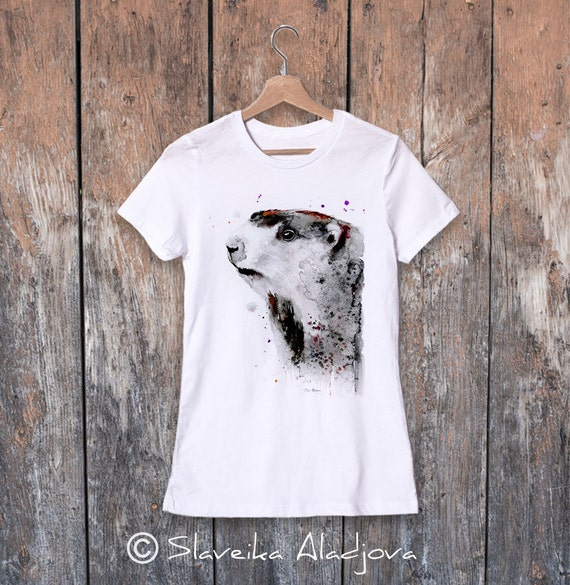 Marmot watercolor ladies' T-shirt, women's tees, Teen Clothing, Girls' Clothing, ring spun Cotton 100%, watercolor print