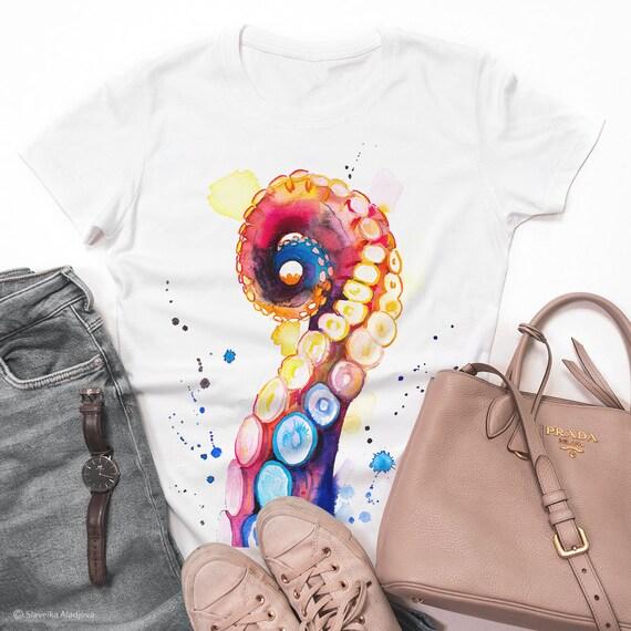 Octopus Tentacle T-shirt, Unisex T-shirt, ring spun Cotton 100%, watercolor print T-shirt,T shirt art,T shirt animal, XS, S, M, L, XL, XXL