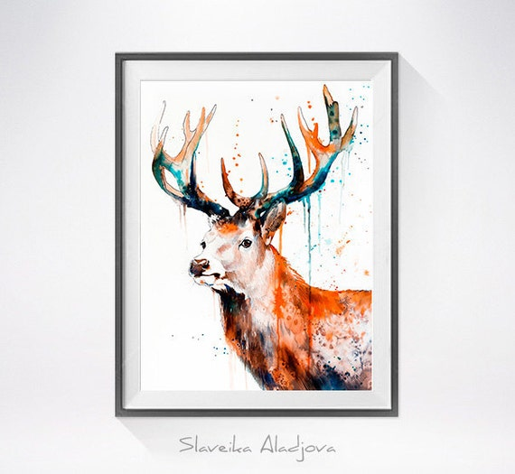 Original Watercolour Painting- Deer ,Deer art, animal illustration, animal watercolor, animals paintings, animals, portrait,