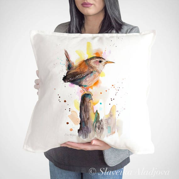 Wren throw pillow cover by Slaveika Aladjova, cushion cover, Decorative Pillow Cover, Animal Art, Watercolor pillow, Christmas gift