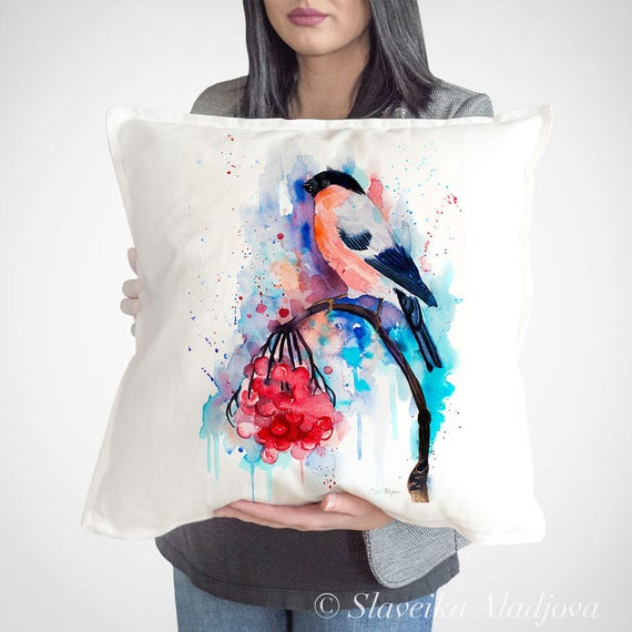 Bullfinch throw pillow cover by Slaveika Aladjova, cushion cover, Decorative Pillow Cover, Animal Art, Watercolor pillow, Christmas gift