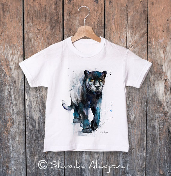 Black panther watercolor kids T-shirt, Boys' Clothing, Girls' Clothing, ring spun Cotton 100%, watercolor print T-shirt,T shirt art