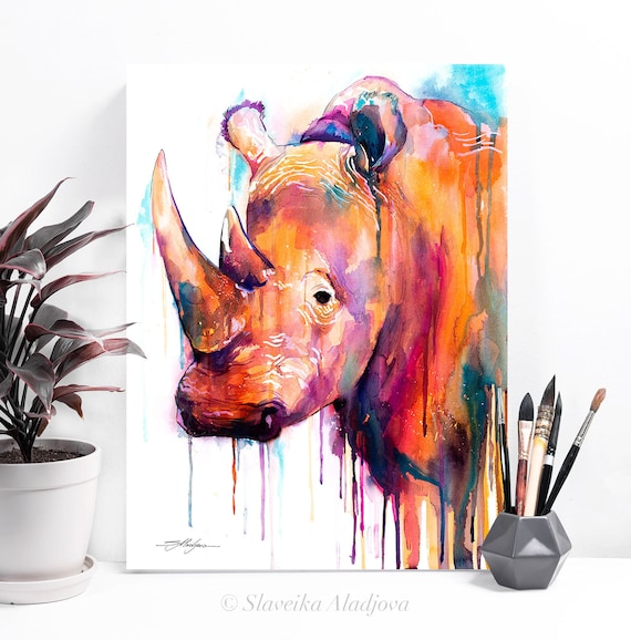 Colorful Rhino watercolor painting print by Slaveika Aladjova, art, animal, illustration, bird, home decor, Nursery, gift, African, Wildlife