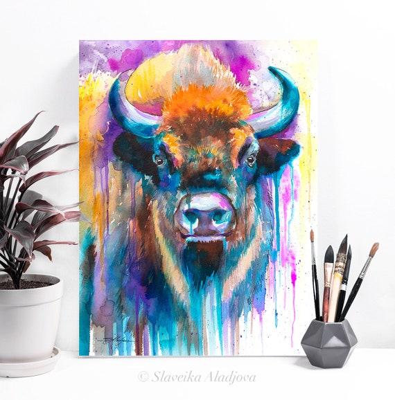 European bison watercolor painting print by Slaveika Aladjova, art, animal, illustration, home decor, Nursery, gift, Wildlife, wall art
