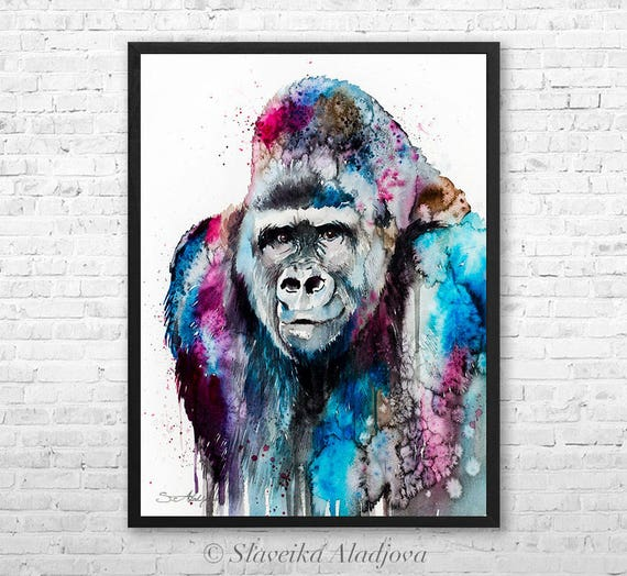 Gorilla watercolor framed canvas by Slaveika Aladjova, Limited edition, art, animal watercolor, animal illustration,bird art