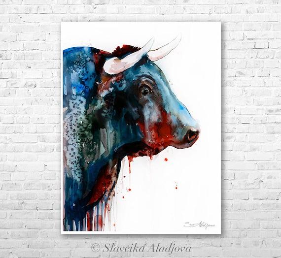 Bull 2 watercolor painting print by Slaveika Aladjova, art, animal, illustration, home decor, Nursery, gift, Wildlife, wall art,